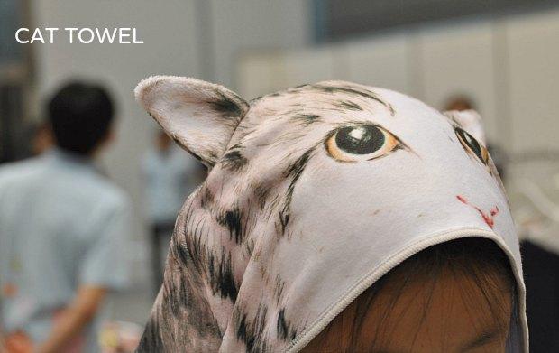猫フード付タオルはベルメゾン運動会やアウトドアにプールに紫外線対策