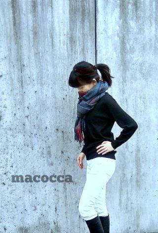 macoccaカシミヤチェックストール安い!30代-40代ファッションコーディネート