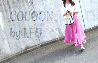 ロングスカートピンク30~40代向け夏ものワッシャー素材は楽天LFOで!