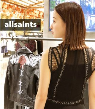 allsaints(オールセインツ)ワンピースコーデ秋【Mサイズ6のライダース】